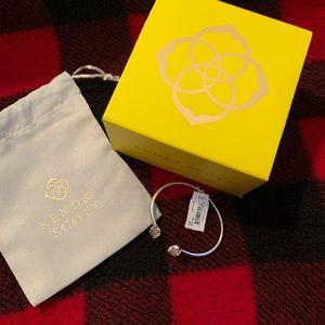 Kendra Scott Edie Cuff Bracelet Rose Quartz Silver